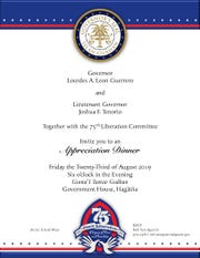 A copy of the invitation to the Aug. 23 Appreciation Dinner at the Government House.