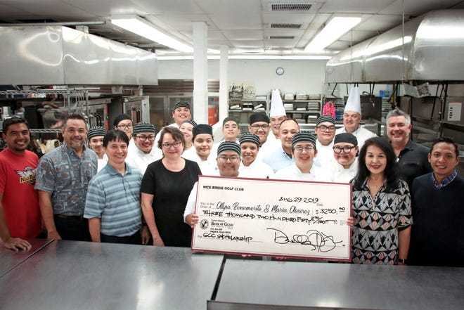 The Guam Community College and the Nice Birdie Golf Club awarded the first ever Chris Bejado Memorial Scholarships to Maria Christina Olivares and Allysa Mae Benemerito, both students in the GCC Culinary Arts and Food Services program. The scholarship fund was established in honor of the late Chris Bejado who was the co-owner of PROA Restaurant. Chris was also actively involved in our tourism industry and in the preservation and promotion of Guam's culture until his untimely passing in July 2016. His impact on Guam's local food service and visitor industries is undeniable. The $1,000 scholarships will pay for tuition, books and fees of the two recipients for the 2019-2020 academic year. Both Maria and Allysa are second-year students in the GCC Culinary Arts program and were graduates of the GCC ProStart secondary program. Pictured: David Arriola, Karl Pangelinan, Randy Biscoe, Dr. Mary Okada, Benemerito, Chris Ogo, Olivares, Lorraine Okada, Darrell Romero, Uriah Perez, along with Chef Paul Paul Kerner, Chef Bertrand Haurillon and GCC's culinary arts students. Not shown from Nice Birdie Golf Club is J.P. Dierking.