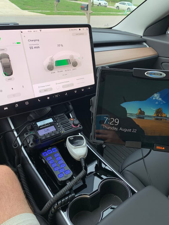 The inside of the Bargersville Police Department's 2019 Tesla Model 3.