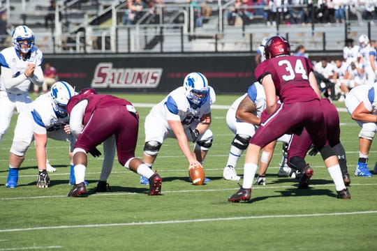 Wyatt Wozniak (68) is a linchpin at the center of Indiana State's offensive line.