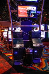 New machines sit on the casino floor Thursday, ready for the launch of a sportsbook at Hollywood Casino & Hotel in Lawrenceburg, Ind. The sportsbook will have a soft opening Sunday, Sept. 1,  followed by a grand opening  Sept. 7.