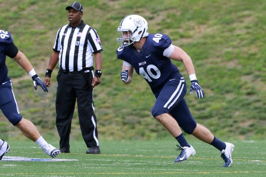 Redshirt sophomore Mickey Kane led Butler in sacks last season was 5.5.