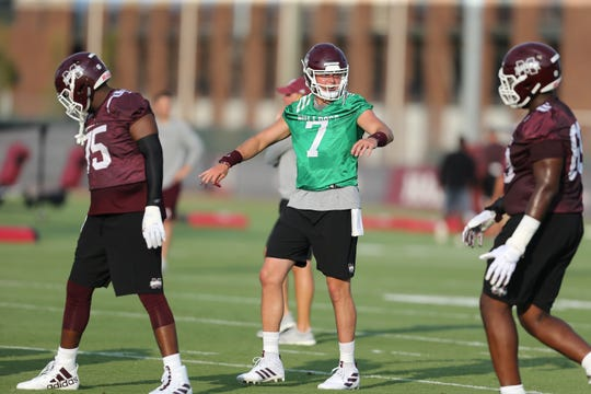 Mississippi State quarterback Tommy Stevens (7) directs the offense at practice on Friday, August 2.
