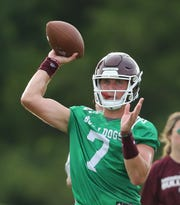 Mississippi State's Tommy Stevens (7). Mississippi State conducted its first practice of the 2019 season on Friday, August 2. Photo by Keith Warren
