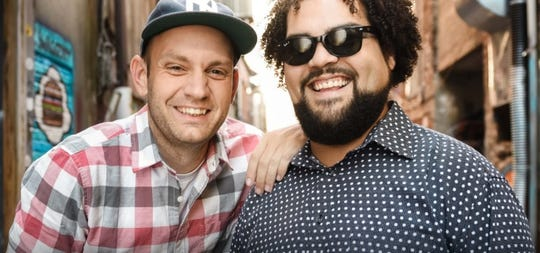 """Lane Shuler and Jonathan """"Courageous"""" Clark perform spoken-word pieces as I.N.K. Here they are in a promotional photo for their appearance last March at Northern Vermont University. The performance was a smash; the skiing that followed was unfortunately a smash of a different sort. Spring 2019."""