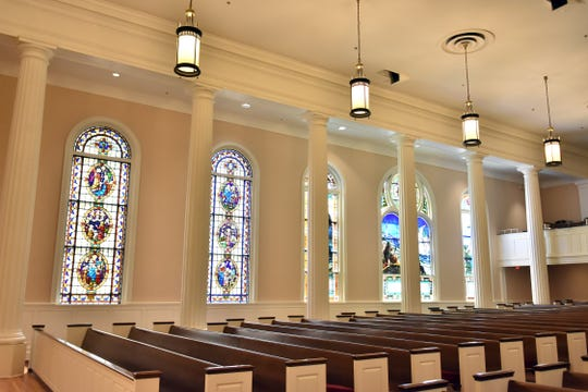 Beautiful stained glass windows line the walls of First Presbyterian Church of Knoxville.