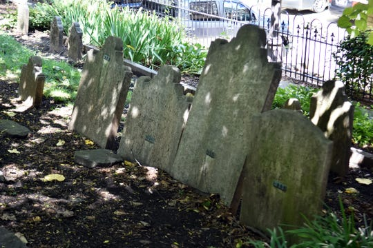 The oldest grave in the First Presbyterian Church graveyard is that of territorial governor William Blount who died March 21, 1800.