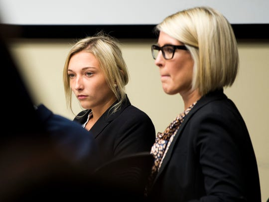 Chelsey Hopson, left, during a hearing in Knox County Criminal Court on Thursday, August 29, 2019. Hopson pleaded guilty to accessory after the fact in the death of Gibbs High School sophomore Zach Munday.
