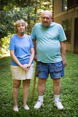 Gail Canham and her husband, Lynn, outside the apartment they rent in Gatlinburg, Wednesday, Aug. 21, 2019. Upon moving to Tennessee from upstate New York, the Canhams were pushed into buying a timeshare. Now they are in a different financial situation and are unable to get out of their timeshare.