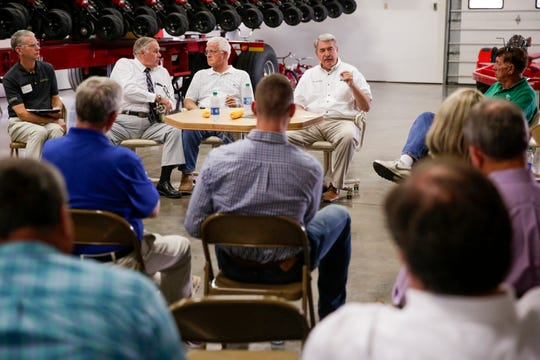 USDA Undersecretary for Trade and Foreign Agricultural Affairs Ted McKinney speaks during roundtable discussion at Kemper Farms, Thursday, Aug. 29, 2019 in Lafayette.