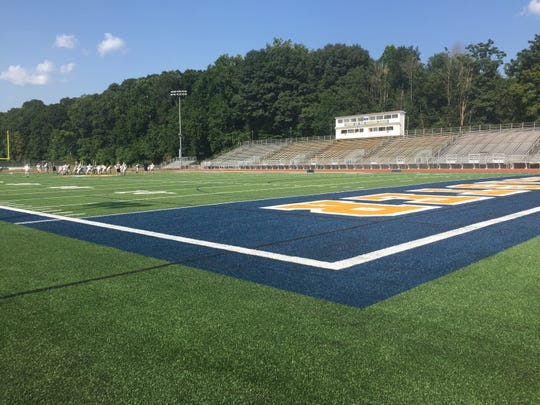 The calm before the storm. Lancaster's Fulton field sits empty now, but it will be full of fans for the opening of Friday night football.