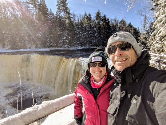 Jessi and Ari Adler visit Tahquamenon Falls State Park in January. They are on a quest to visit all 103 state parks in Michigan during 2019.