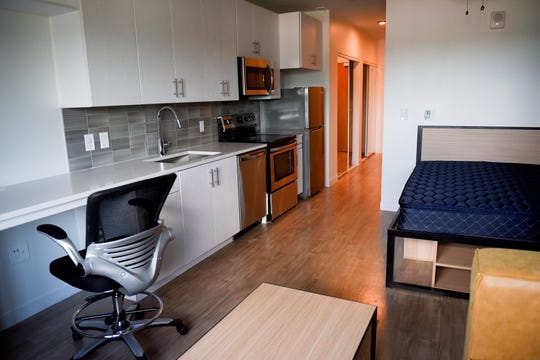 A look at a sample apartment at the Hub on Campus student apartment building on Thursday, Aug. 29, 2019, in East Lansing.