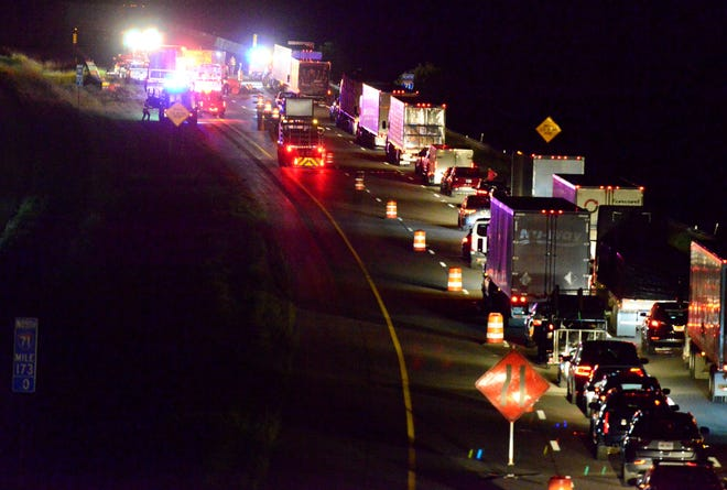 All lanes of northbound traffic on Interstate 71 were blocked Wednesday night due to a crash that occurred at mile marker 173.