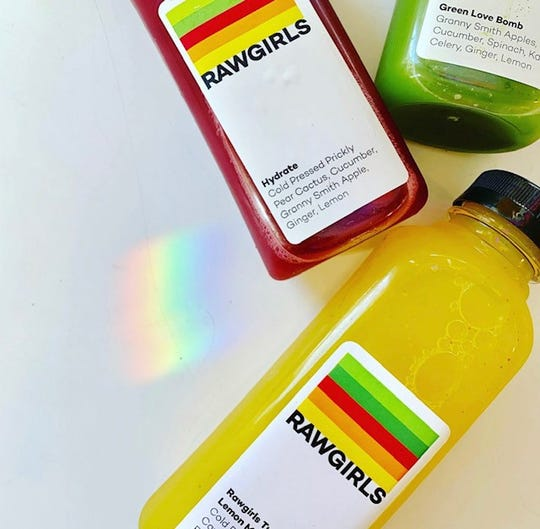 Raw Girls serves a variety of fresh cold pressed juices in addition to prepared vegetarian meals.
