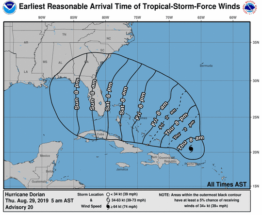 The latest forecast for Hurricane Dorian has it approaching Florida on Saturday night.