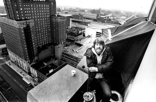 WQFM DJ Tim the Rock 'n' Roll Animal broadcast from a 21st-floor ledge on a building at Sixth Street and Wisconsin Avenue in September 1982. He vowed to stay out on the ledge until the Who, who had not included Milwaukee on their latest tour, agreed to play a show here.
