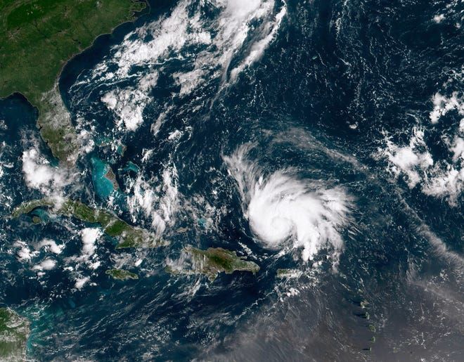 In this National Oceanic and Atmospheric Administration satellite image, Hurricane Dorian was intensifying over the Caribbean Sea and tracking towards the Florida coast on Thursday, August 29, 2019. Dorian is expected to continue growing into a major hurricane during the weekend.