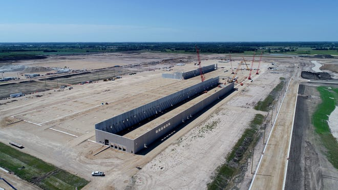 Walls go up in August at the Foxconn facility in Mount Pleasant.