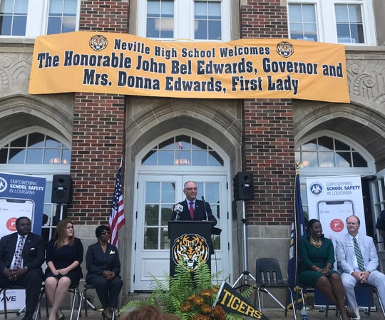 Gov. John Bel Edwards says all K-12 school will have access to an app designed to allow teachers to instantly alert their colleagues and law enforcement during an emergency such as an active shooting on campus. He made the announcement Thursday at Neville High School in Monroe.