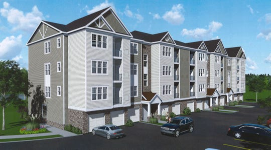 Rendering of one of four buildings under construction at 34 Bank Street in Netcong, totaling 126 units. A groundbreaking was held on August 28, 2019.