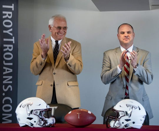 Troy University Chancellor Jack Hawkins, left, and Head Football Coach Chip Lindsey on the Troy campus in Troy, Ala., on Friday January 11, 2019. (Montgomery Advertiser, Mickey Welsh)