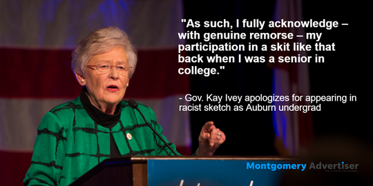 Kay Ivey apologized for appearing in a racist sketch in college