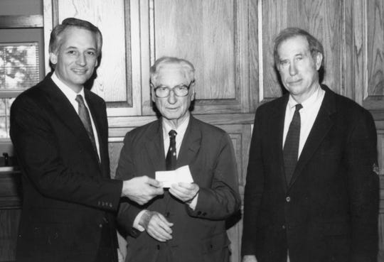 Jack Hawkins, Chancellor of Troy University, from left, Ralph Adams, Chancellor Emerirtis, and Doug Hawkins, Board of Trustees, are shown in this undated file photo.