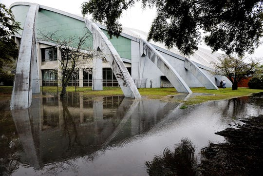 Garrett Coliseum has had problems with rainwater runoff and leaks.