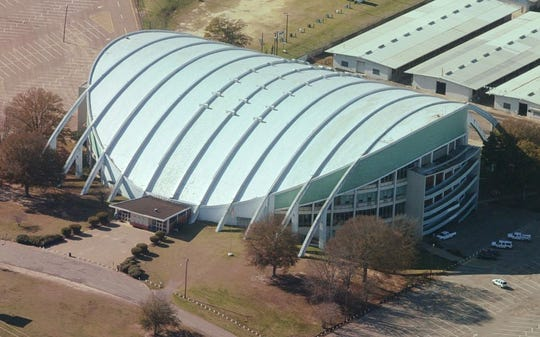 Aerial view of Garrett Coliseum from 2009.