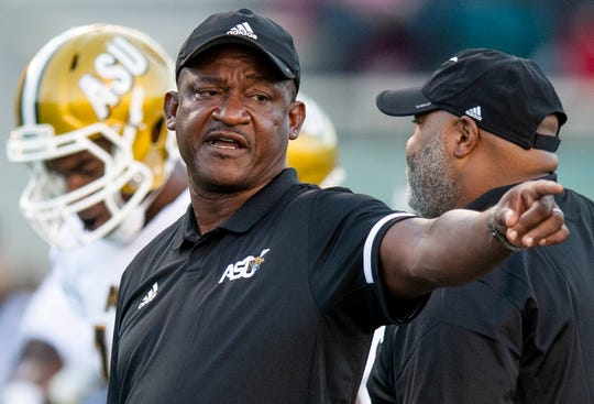 Alabama State head coach Donald Hill-Eley during warm ups before the University of Alabama Birmingham game at Legion Field in Birmingham, Ala., on Thursday August 29, 2019.