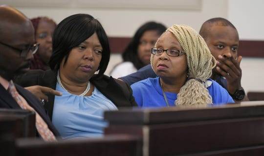 Vickie Hambrick, the mother of victim Daniel Hambrick, sits in the courtroom with her attorney Joy Kimbrough, during the hearing for Officer Andrew Delke in Judge Monte Watkins' courtroom Thursday, Aug. 29, 2019 in Nashville. Delke is charged with first-degree murder after he shot and killed Daniel Hambrick during a foot pursuit in North Nashville.