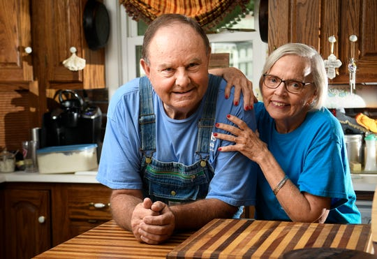 Country cook Hoyt Tidwell and his wife Suzy Tidwell have amassed millions of views of his instructional videos for making chicken and dumplings and other home-cooked meals at his home Tuesday, Aug. 27, 2019 in West Point, Tenn.