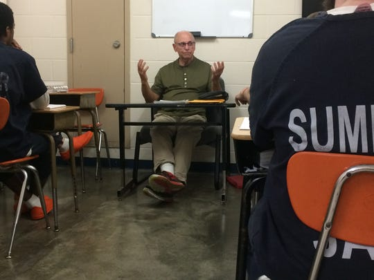 Jim Hadley teaches a class of 10 inmates in prison ministry in the Sumner County Jail on Thursday, Aug. 22.