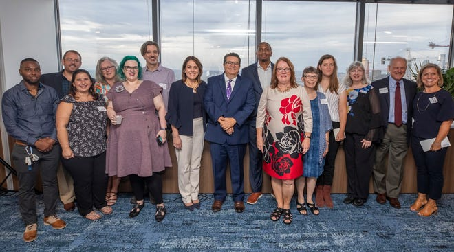 A Community Thrives grant recipients celebrate with USA TODAY Network President and USA TODAY Publisher Maribel Perez Wadsworth and USA TODAY Network Tennessee Vice President of News Michael Anastasi during The Tennessean's open house on Tuesday, Aug. 27, 2019.
