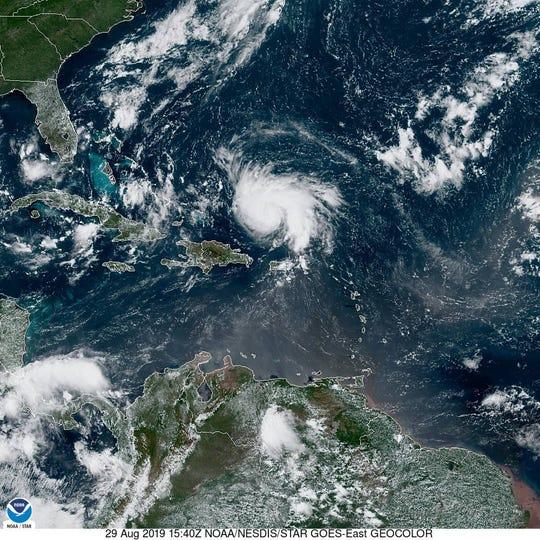 Satellite image of Hurricane Dorian Thursday, Aug. 29, 2019