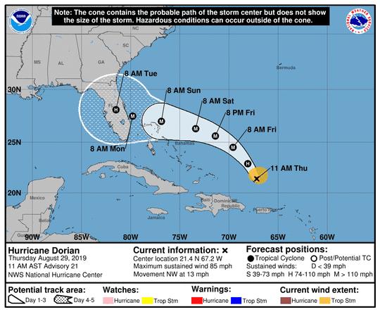 Hurricane Dorian as of 5 p.m. Aug. 29, 2019.