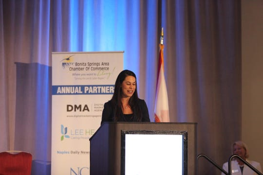 Bonita Springs Area Chamber of Commerce President and CEO Tiffany Esposito speaks at the annual luncheon.