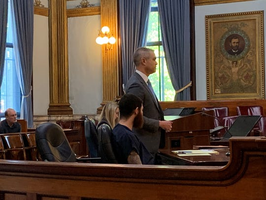 Attorney David Thomas speaks on behalf of his client, Devin Rhinehart, during a sentencing hearing in Licking County Common Pleas Court on Thursday, Aug. 29, 2019. Rhinehart was one of two men charged in a November 2018 drive-by shooting in Newark.