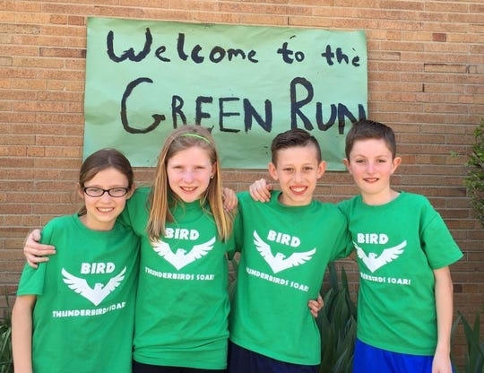 Pictured (from left) are exercise path engineers Isabell Kulick, Libby Phillips, Wesley Hart and Donovan Murphy during their fifth-grade year at Bird.