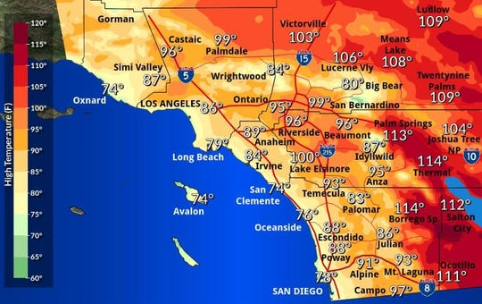 Friday's heat forecast