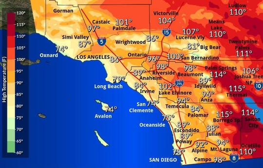 Saturday's heat forecast