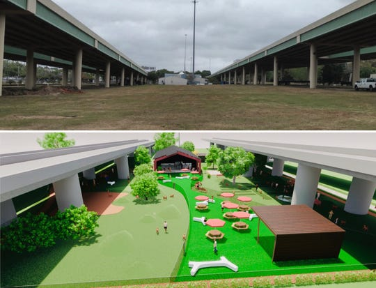 A current photo of the land underneath I-110 is compared with an illustration of the Hair of the Dog indoor/outdoor dog park that had been proposed. Community backlash prompted planners to seek a different location.