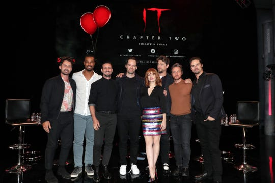 "The ""It Chapter Two"" team includes Andy Bean (from left), Isaiah Mustafa, James Ransone, Bill Hader, Jessica Chastain, Andy Muschietti, Director, James McAvoy and Jay Ryan"