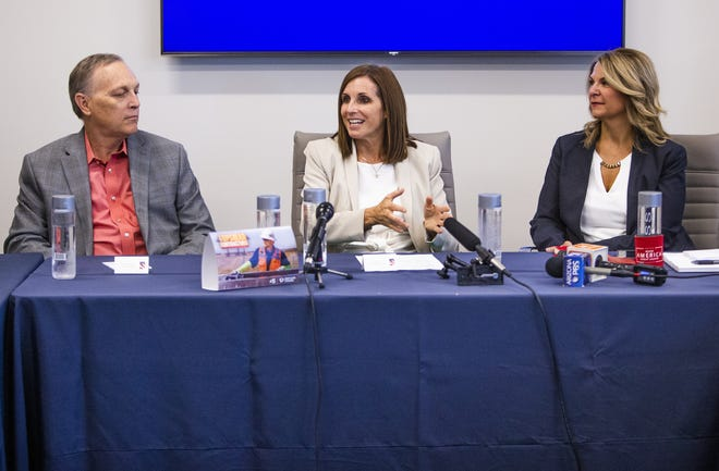 Sen. Martha McSally leads a discussion about the economy and jobs at Depcom Power in Scottsdale on Aug. 28, 2019. Joining McSally at the head table are Rep. Andy Biggs (left) and Kelli Ward, Arizona Republican Party chairman (right).