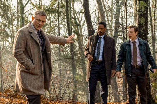 """Knives Out"" features Daniel Craig (from left) LaKeith Stanfield and Noah Segan."