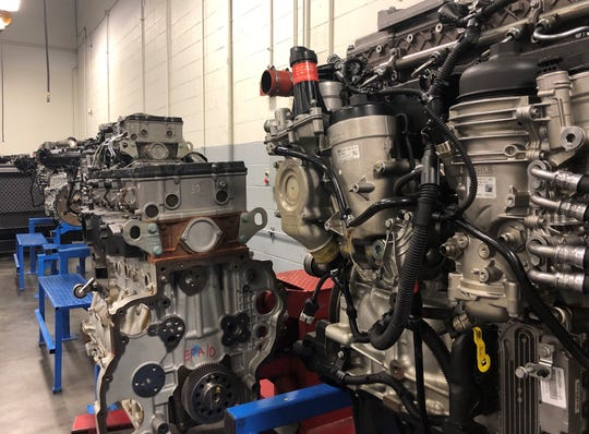 Engines in the large classroom at UTI where hands-on learning is forefront on a student's education.