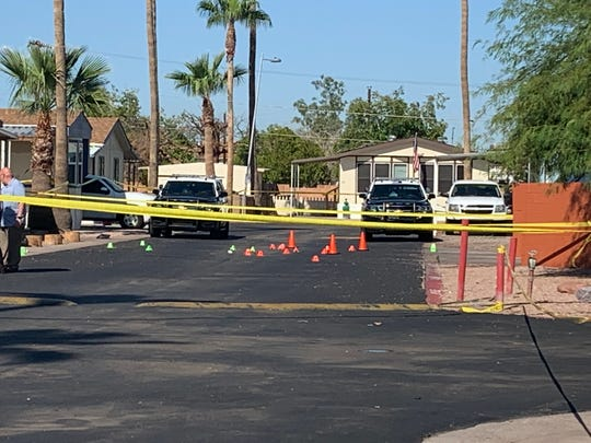 Mesa police are investigating the death of a woman and her 10-year-old son at their home near East McKellips Road and North Wintercove Drive on Aug. 29, 2019.