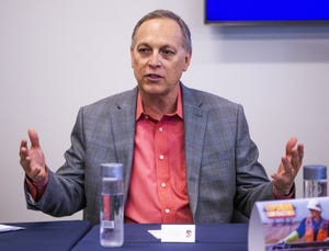 Rep. Andy Biggs participates in a discussion about the economy and jobs at Depcom Power in Scottsdale on Aug. 28, 2019.