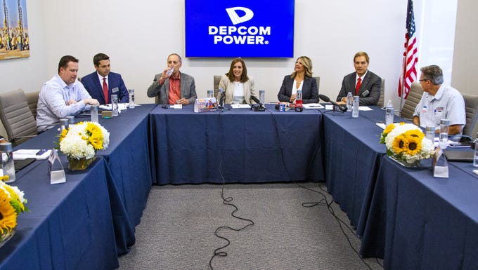 "Sen. Martha McSally leads a discussion about the economy and jobs at Depcom Power in Scottsdale on Aug. 28, 2019. The roundtable is part of the nationwide  ""Open for Business"" tour. Joining McSally at the head table are Rep. Andy Biggs (drinking water), Kelli Ward, Arizona Republican Party chairman, and Jim Lamon, Depcom Power CEO (right)."